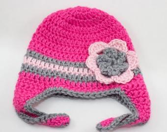 Baby Girl Hat, Crochet Hat, Crochet Baby Hat, Baby Hat, Girl Hat, Girl Crochet Hat, Pink Baby Hat