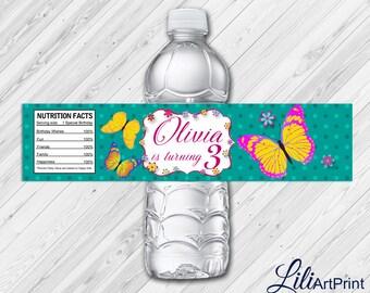 Butterfly Water Bottle Labels, Butterfly Labels, Digital File