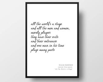 "Printable Quote - WILLIAM SHAKESPEARE Poem - ""The World's A Stage"" - Poetry Art Print - Printable Wall Art - Instant Download"