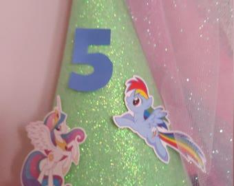 My little pony custom girls party birthday hat