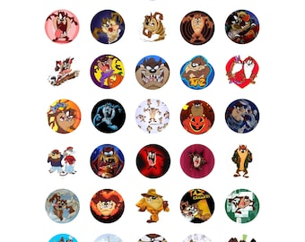 Taz Tazmanian Devil Looney Tunes Digital collage printable 1 inch bottlecap craft circle images
