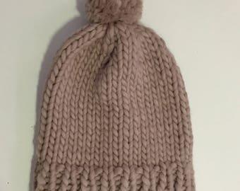 Chunky Knitted Beanie Hat + Pom Pom (100% Wool) - Sand Mono