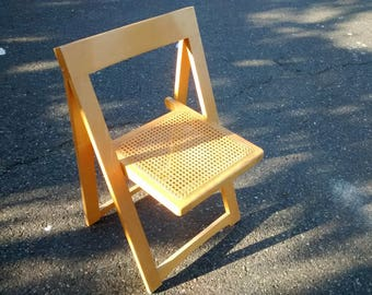 Vintage wooden A-frame folding chair with cane seat (wicker wood)