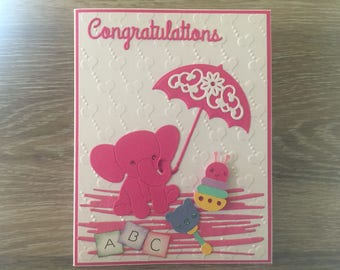 Cute Congratulations Baby Card, Hot Pink Elephant