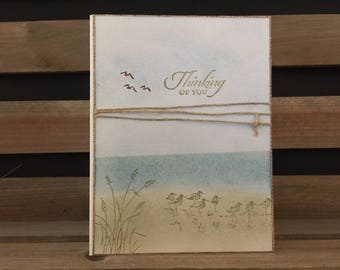 Watercolor Look Sympathy Card, Thinking of You Card, Water and Sky Theme, Burlap Matting and Twine Embellishment