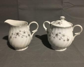 Vintage Empress China Allegrc Porcelain Cream and Sugar Bowl Set Grey Floral with Red Dot Japan #1402