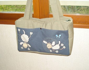 Diaper bag padded - many pockets - sheep pattern