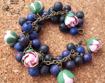 Bracelet with blueberries and flowers, Berry bracelet, Polymer clay bracelet, Polymer clay jewelry, Handmade jewelry, Gift idea
