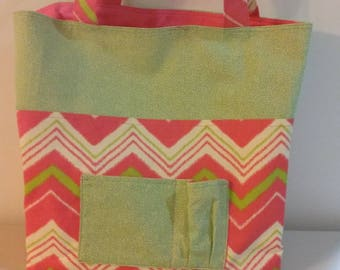 Pink Chevron Canvas Beach Bag