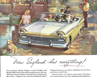 1957 Ford Auto Ad from National Geographic Magazine New England, Ad Retro Nostalgia 1950s Classic Ads, Ford Mercury Collectible Ad