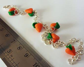 Polymer Clay Carrot Charm Bracelet