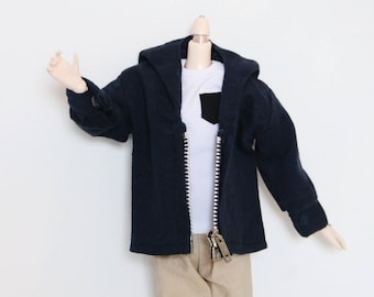 Sweat jacket mini Navy blue collared garment Pullip, Taeyang, Doll 1/6 vintage (20% with code: INSTA20)