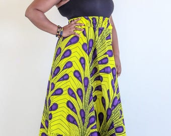 DeBokis Collection, Latest Ankara African Print, Maxi Flare Skirt with Headgear.