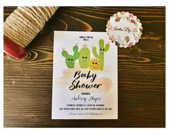 Cactus Baby Shower Invitation Printable Template