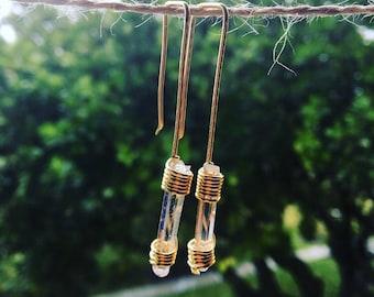 quartz earrings, clear quartz earrings, crystal earrings, pendant earrings, gemstones earrings