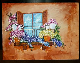 Flowers in Balcony Acrylic Painting