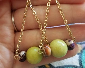 Golden Green and Purple Earrings.