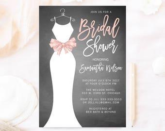 Bridal shower invitation, Wedding dress bridal shower invitation, gray and white elegant bridal shower dress, white dress,pink bow