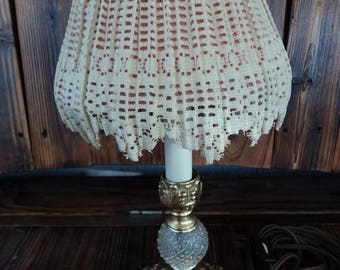 Vintage brass and crystal lamp