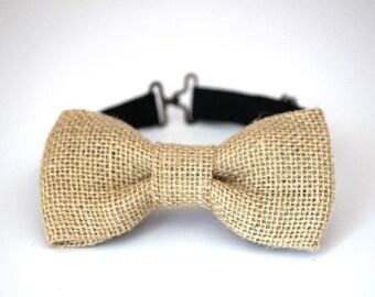 Burlap bow tie, mens burlap bow tie, boys burlap bow tie, wedding bow tie, groomsmen bow tie, ring bearer bow tie, burlap wedding bow tie