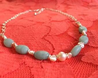 Pearls and Aquamarine