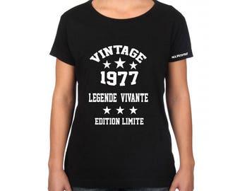 T-shirt 1977 vintage anniversary, birthday shirt vintage 77 living legend, legend t-shirt