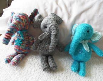 Hand Knitted Elephant With Scarf