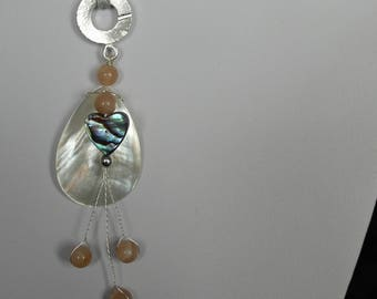Mother of pearl, paua shell and peach moonstone necklace