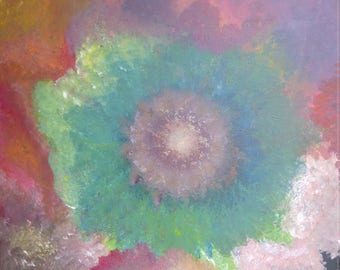 Abstract flower multi color acrylic