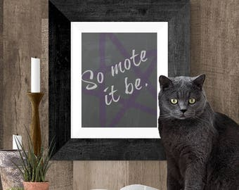 Wiccan Wall Art Printable, Instant Download Wiccan Art, So Mote it Be Printable, Altar Poster, Gift for Wiccan, Black and Purple Poster