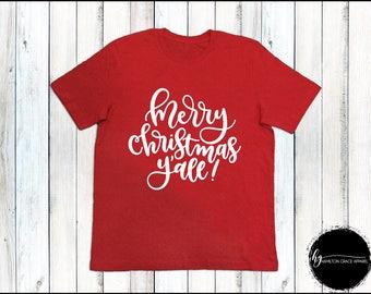 Ladies Holiday Shirt Merry Christmas Y'all Shirt Ladies Christmas Shirt Ladies Xmas shirt Women's Christmas Top Christmas Shirts Christmas