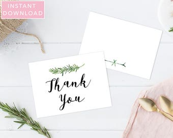 Greenery Thank You Template, Thank You Card, Thank You Card Template, Printable Thank You Card, Folded Thank You, Tented, Instant Download