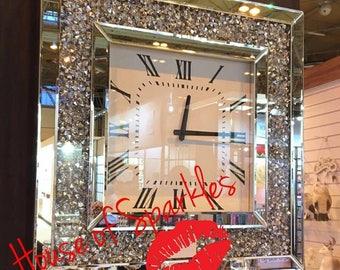 Diamond Crush Mirrored Wall Clock
