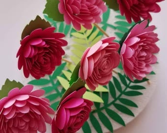 Set of 12 Pink Paper Flower Toppers, 3D Paper Flowers, Pink  Flower cake topper
