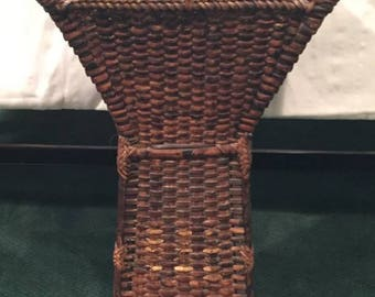 Vintage Bamboo Wicker Umbrella Stand/Holder Tall