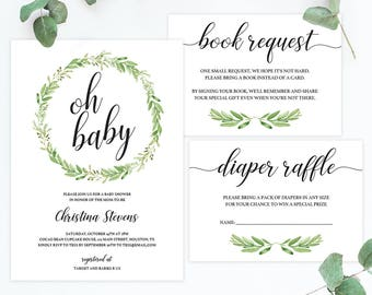 Botanical Baby Shower Invitation Set Printable Invitation Templates for Baby Shower Package Green Book Request Card Diaper Raffle Cards GL1