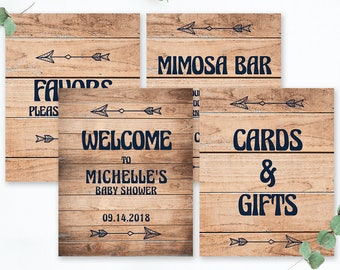 Barn Party Decor Rustic Baby Shower Signs Bundle Welcome Sign Bridal Shower Enchanted Forest Wedding Signs Bundle Rustic Chic Decor DIY BBL