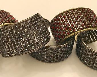 Five Vintage Monet Rhinestone Beaded Jeweled Cuff Bracelet Lot