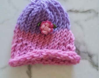Newborn Baby Pink Floral Hat With Purple