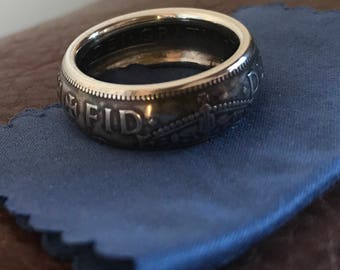 1955 half crown coin ring finished in an antique patina, ring U/V, ring can be re sized if required