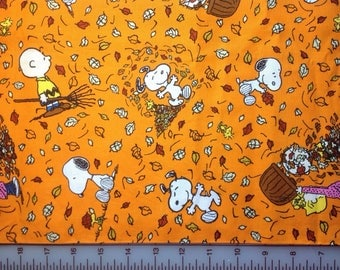 Peanuts Falling Leaves /  100 % Cotton Quilting Fabric / Snoopy  Charlie Brown / Orange  / Fall Theme / Leaves / 1 yard only