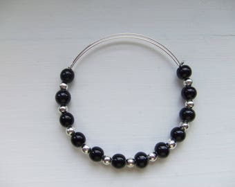 Black Czech glass and Silver bead adjustable silver plated bracelet