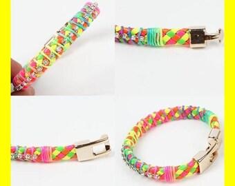 Neon Colors With Rhinestones Bracelet