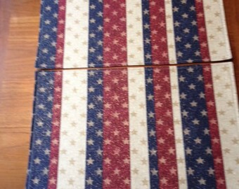 Stars on Stripes Placemats, Set of 2 Placemats, Placemats, Patriotic Placemats, Striped Placemats, Red White Blue Placemats, Reversible