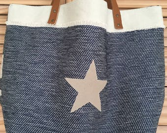 Blue reversible tote bag