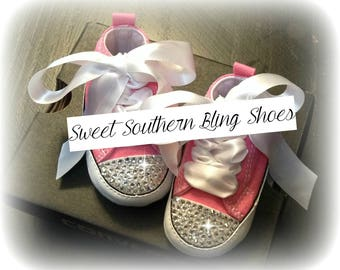 Pink & White Baby Bling Converse Crib Shoes
