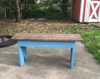 Country bench with reclaimed top