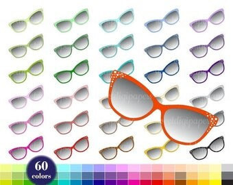 SALE 50% Sunglasses Clip Art, Planner Clipart, Sunglasses Clipart, Colors Clip Art, Rainbow Sunglasses, Digital Clipart, Sunglasses Printabl