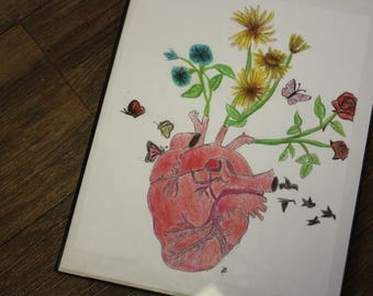 heart with flowers drawing