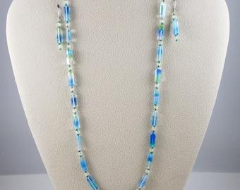 Blue and Green Czech Glass Rectangular Bead Necklace & Earring Set